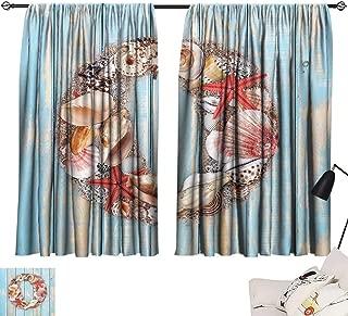 Ediyuneth Waterproof Window Curtain Letter O,Nautical Life Font Design O Circle on Vertical Worn Wood Planks,Pale Blue Ivory Dark Coral 54
