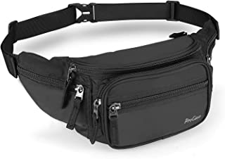 ProCase Waist Pack, Waist Fanny Pack Bag with Adjustable Waistband and Quick Release Buckle Travel, Hiking, Running, Outdoor Sport, Workout, Amusement Park or Bachelorette Party -Black