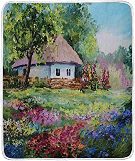 JOSENI Artistic Stone House and Small Garden with Wooden Fence Colorful Spring Flowers Super Soft Throw Blanket Bed Couch Lightweight All Season 36
