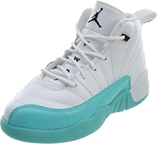"Jordan Retro 12"" Light Aqua White/Black-Light Aqua (Little Kid) (12.5 M US Little Kid)"