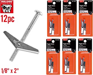 12pc Premium Bulldog Toggle Bolt Anchor for Hollow Walls Ceiling 1/8