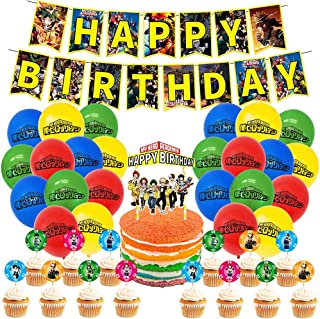 My Hero Academia Birthday Party Decorations, Anime Theme Party Supplies Including 1 Birthday Banner, 1 Cake Topper, 24 Cup...