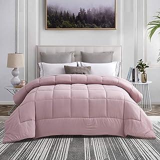 CHIXIN Queen Pale Mauve Comforter - Soft Down Alternative Comforter - 330 GSM Reversible Bedding Comforter - 3D Hollow Siliconized