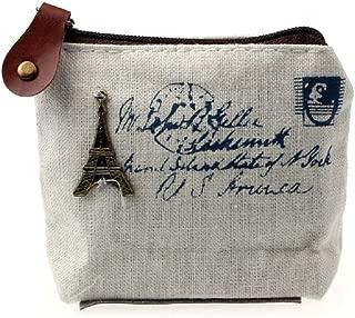 DZT1968(TM) Women Canvas Retro Small Mini Square Eiffel Wallet Coin Purses Clutch Money Pouch Bags Gift (White)