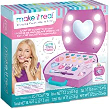 Make It Real - Light-Up Cosmetic Studio - Kids Makeup Case with Mirror and Lights for Girls and Tweens - Includes Eyeshadow, Nail Polish, Blush, Lip Gloss, Nail File, Makeup Brushes