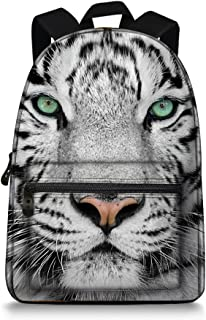 15.5 Inch Canvas 3D Animal Face White Tiger Back Pack for School