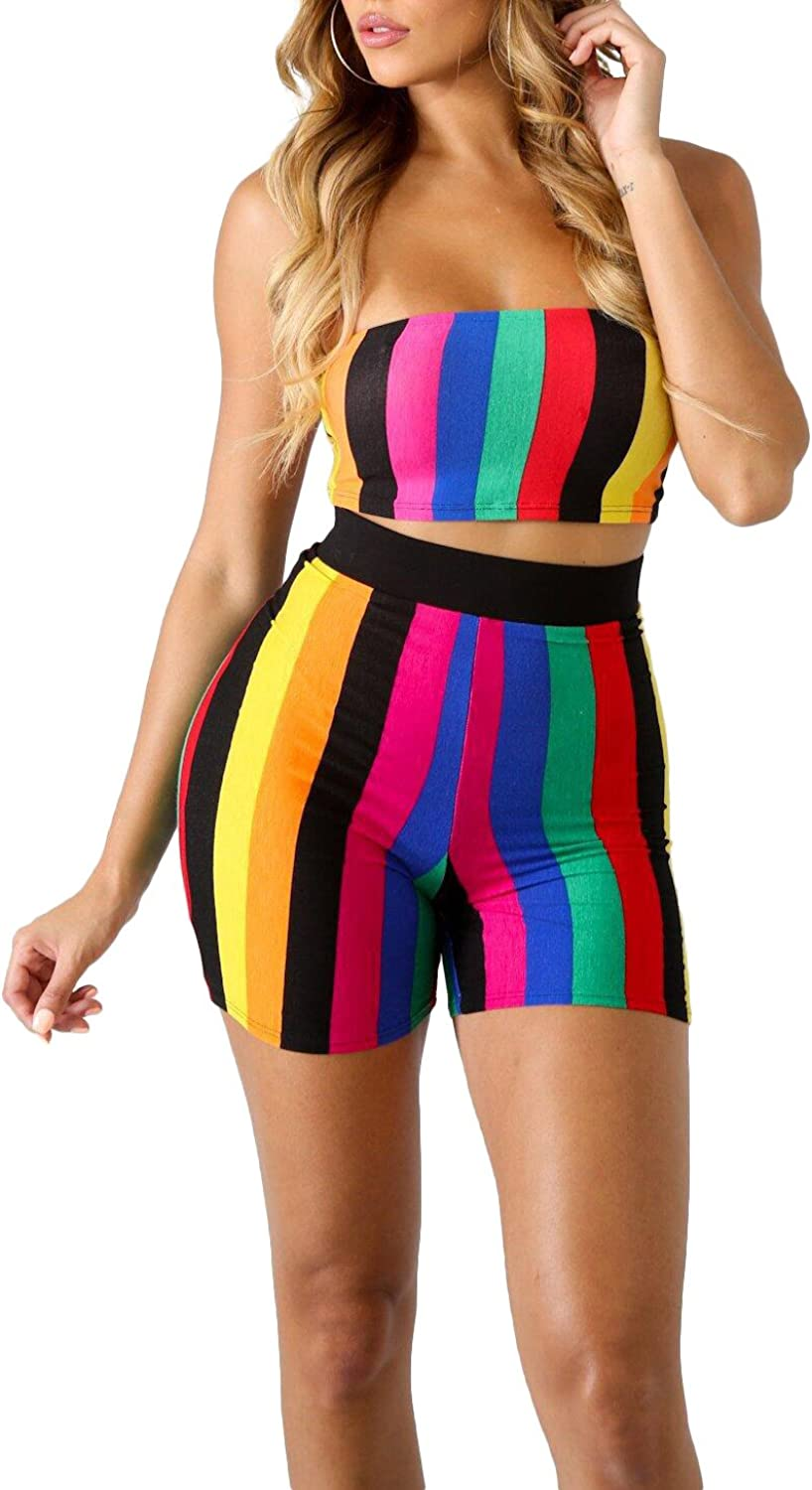 WearFun Womens 2 Piece Outfits Off The Shoulder Crop Tops and Short Pants Tracksuits Set