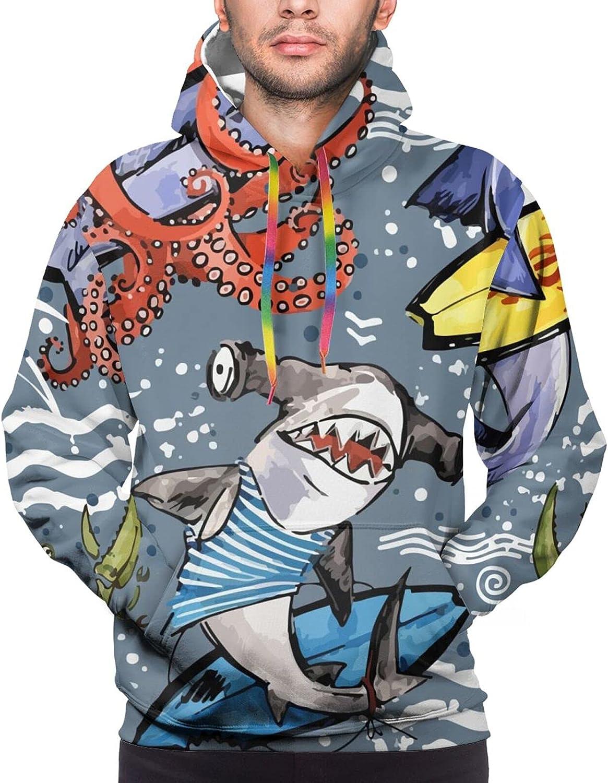 Hoodie For Teens Boys Girls Sea Fish Shark Octopus Crab Double-Sided 3d Sweatshirt Hoodie