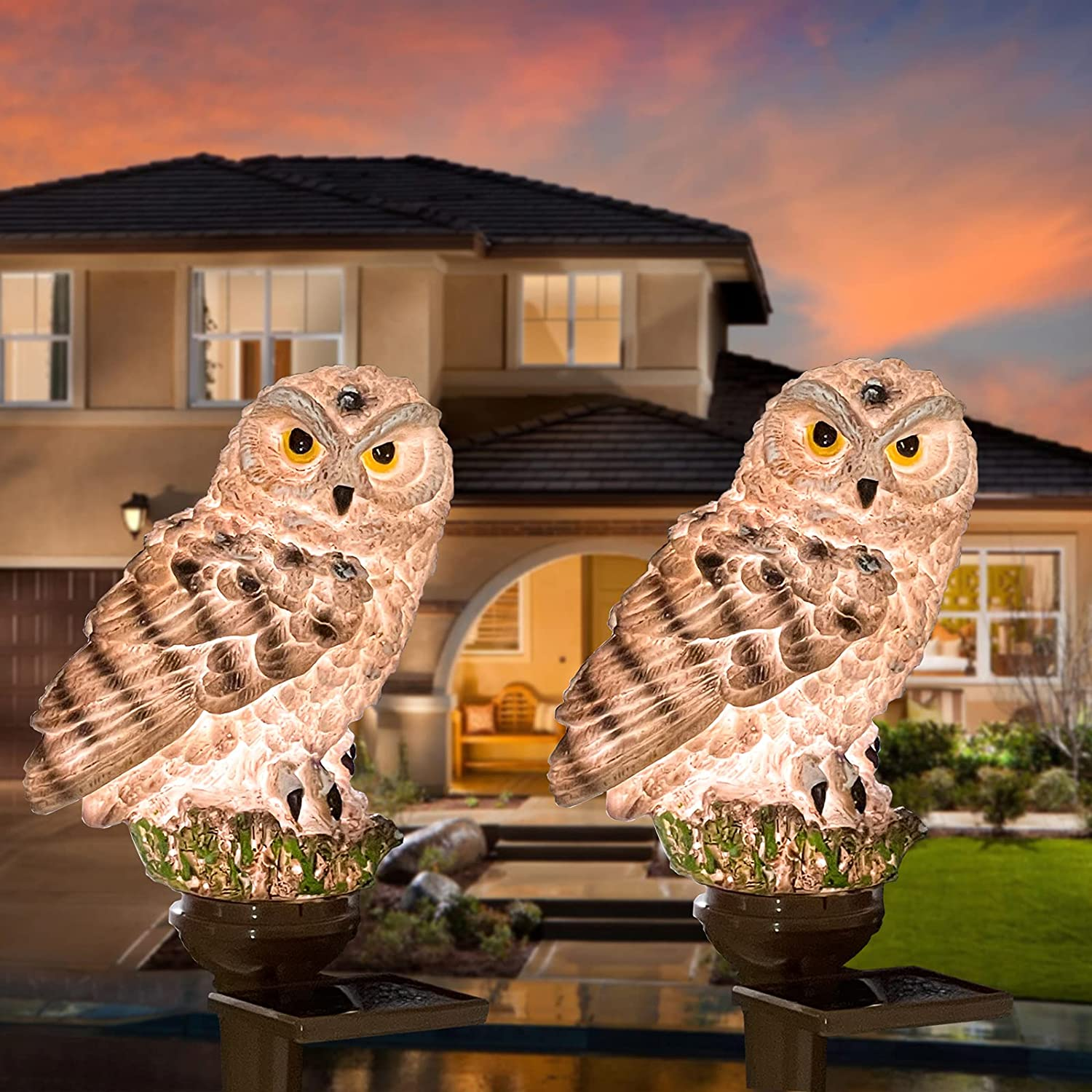 YESHAN Solar Figurine Light, 2 Pack Owl Solar Lights with Stake,Cute Owl Led Lights for Lawn Yard Patio Pathway Decor (Brown)…