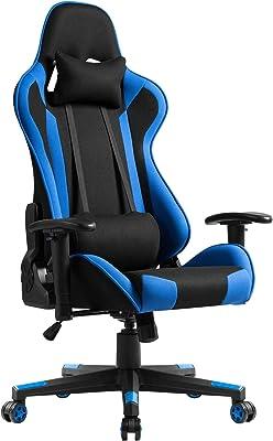 PRORACING ゲーミングチェア オフィスチェア ゲーム用チェア 175度無段階リクライニング クッション付き 2D可動式肘掛け ハイバック 耐荷重120kg 布地 ブルー 33BAA