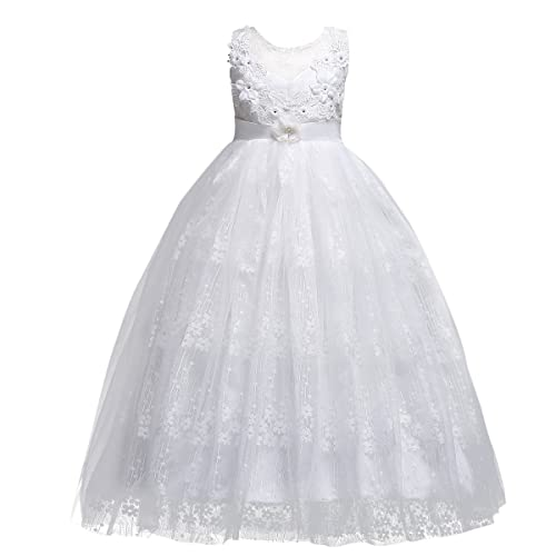 966c46125 IWEMEK Flower Girls Lace Tulle Wedding Bridesmaid Communion Evening Party  Embroidered Sleeveless Dress Christmas Carnival Pageant