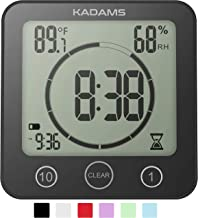 KADAMS Digital Clock Timer with Alarm, Waterproof for Water Spray for Bathroom Shower Kitchen, Touch Screen Timer, Tempera...