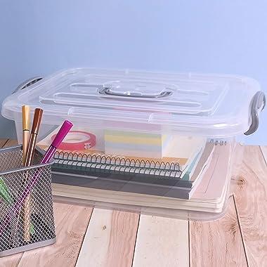 Dehouse 8 L Clear Storage Latch Box, Plastic Lidded Storage Bins, 2 Packs