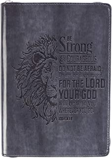 Christian Art Gifts Grey Faux Leather Journal | Be Strong and Courageous Joshua 1:9 Bible Verse | Flexcover Inspirational Zippered Notebook w/Ribbon and Lined Pages, 6.5 x 8.75 Inches