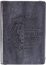 Christian Art Gifts Grey Faux Leather Journal | Be Strong and Courageous Joshua 1:9 Bible Verse | Flexcover Inspirational ...