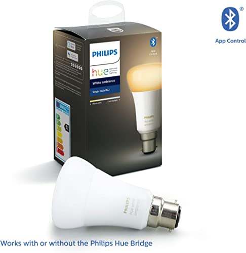 Philips Hue White Ambiance Bayonet Cap (B22) Dimmable LED Smart Bulb (Latest Model, Compatible with Bluetooth, Amazo...