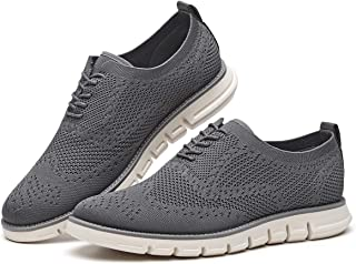 b87bf4ea7324 Men s Oxford Sneaker Flyknit Wingtip-Classic Lace Up Casual Shoes Delicate  Cancellate Knitting Upper