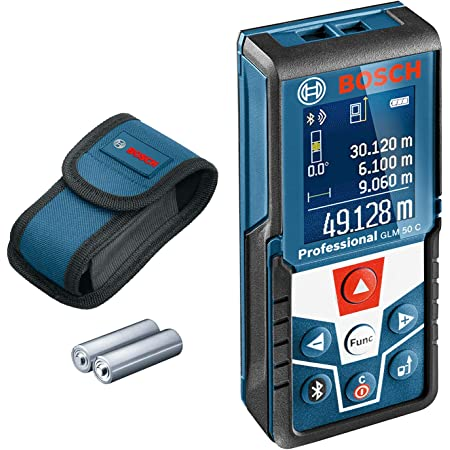 Bosch Professional télémètre laser GLM 50 C (transfert de données par Bluetooth, inclinomètre 360°, portée : 0,05 – 50 m ; Carton : télémètre laser Bosch GLM 50 C, 2 piles 1,5 V, housse de protection)