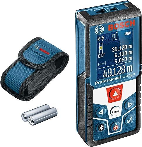 Bosch Professional télémètre laser GLM 50 C (transfert de données par Bluetooth, inclinomètre 360°, portée : 0,05 – 5...