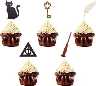 Juego de 15 decoraciones para cupcakes de Harry Potter inspiradas en JeVenis de Harry Potter para decoración de pasteles, diseño de Harry Potter