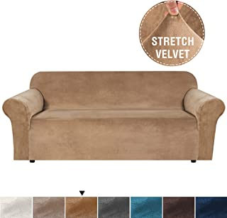 H.VERSAILTEX Velvet Plush Stretch Sofa Slipcover Sofa Cover Furniture Protector Couch Soft with Elastic Straps for Anti-Slip, Form Fitted High Stretch Velvet Plush Sofa Slipcovers (Sofa, Luggage)
