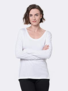 camiseta gola u manga longa algodão peruano