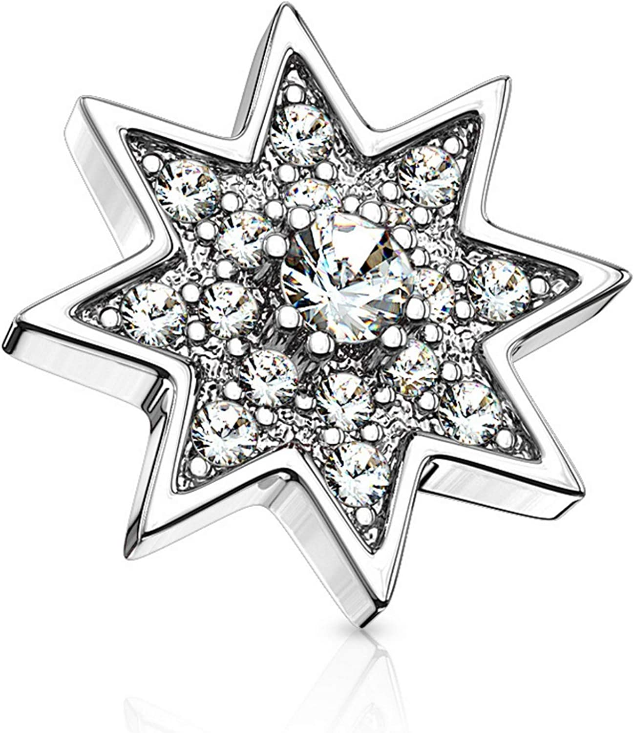 BYB Jewelry Purchase CZ Paved Starburst Anchor Steel Surgical Max 68% OFF Top Dermal