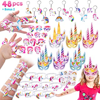 Pawliss 48 Pack Unicorn Party Favors Supplies Masks Rings Bracelets Keychains