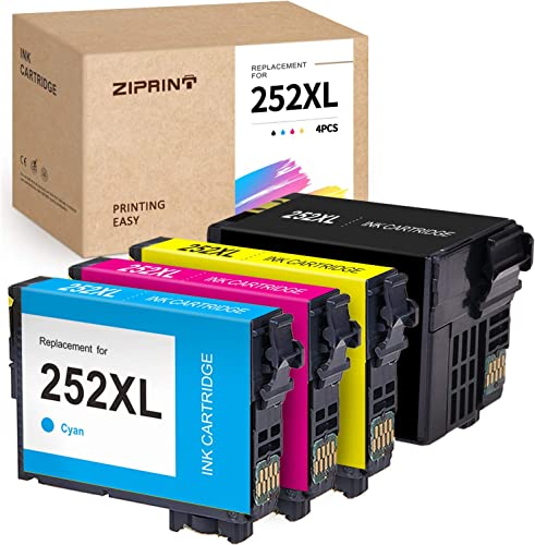 new arrival ZIPRINT Remanufactured Ink Cartridge Replacement for Epson 252XL 252 XL sale T252XL online use for Workforce WF-7710 WF-7720 WF-3640 WF-3620 WF-7610 WF-7620 WF-7210 (1 Black, 1 Cyan, 1Magenta, 1 Yellow) online sale