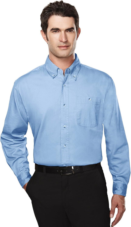 Tri-Mountain Big and Tall 6 oz. Cotton Long Sleeve Twill Shirt Light Blue