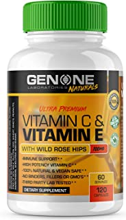 Vitamin C & Vitamin E with Wild Rose Hips 1000mg - High Potency Immune Support - 100% Natural, Vegan Safe, Non GMO, Antiox...