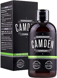 Champú para barba 2 en 1 de Camden Barbershop Company ● Cuidado natural para la barba y limpieza del rostro ● Aroma fresco...