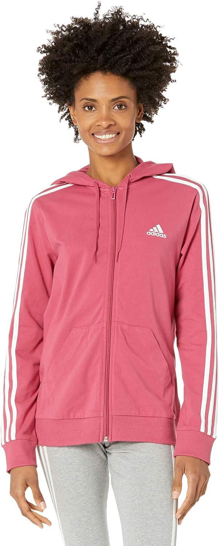 adidas Women's Essentials Single Hoodi Max 78% OFF Full-Zip Jersey 3-Stripes Ranking TOP3