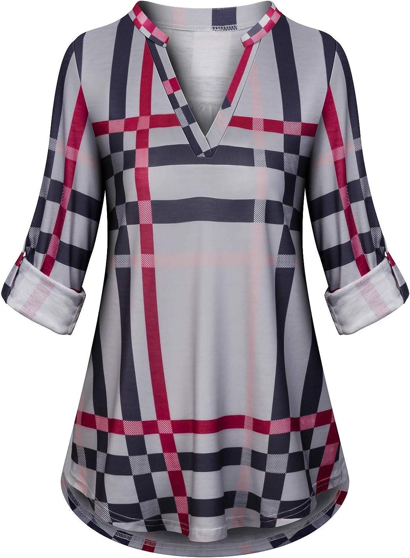 Koscacy Women Autumn 3/4 Roll Sleeve V Neck Tunic Shirts Plaid Block Flowy Tops