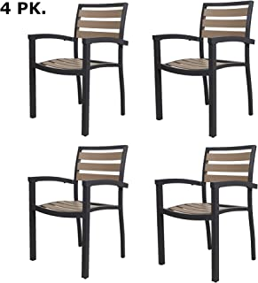 LUCKYERMORE 4PK Patio Chairs Outdoor Dining Chair Stackable Armchair Aluminum Alloy Lightweight & Heavy Duty for Commercial Restaurant Use