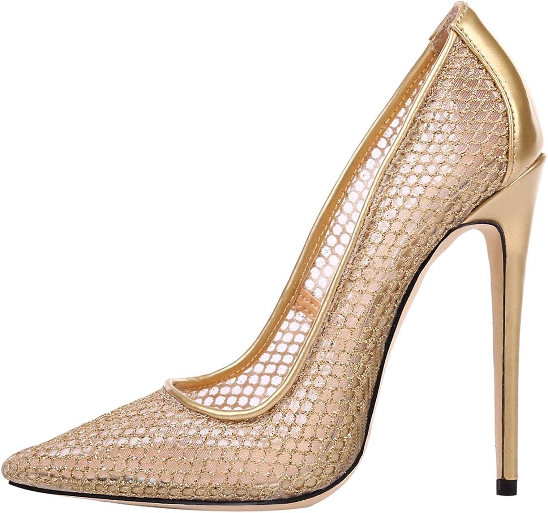 Fuxitoggo Mesh-Pumps Frauen Frauen High Heel Atmungsaktive Spitzschuh Schuhe (Farbe   Gold, Größe   EU 36)  Online zum besten Preis