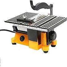 WSZYBAY Mini sierra de mesa, mesa deslizante de carpintería, madera eléctrica, madera, ángulo de corte ajustable con 3 hojas de sierra para placa de acero de madera, vidrio, piedra, azulejo de cerámic