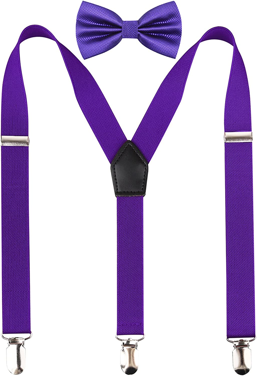 Alizeal 2.5CM Unisex's 3-Clip Suspender and Bow Tie Sets
