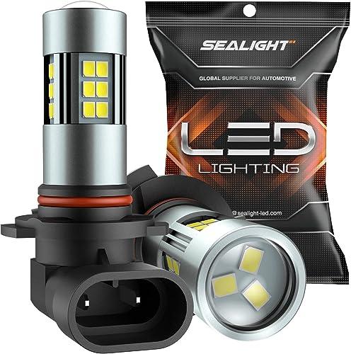 SEALIGHT H10/9145/9140/9045/9040 LED Fog Light Bulbs, 6000K Xenon White, 27 SMD Chips, 360-degree Illumination, Non-p...