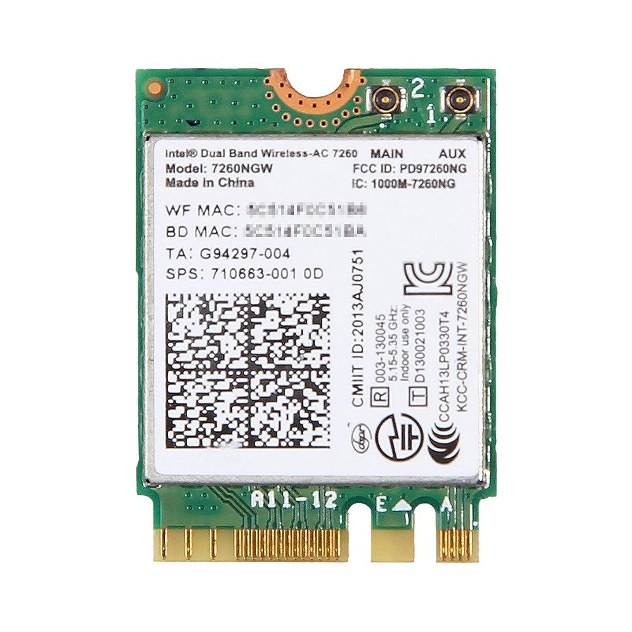 スパイ収縮アセHP純正 710663-001 Intel Dual Band Wireless-AC 7260 867Mbps 802.11ac + Bluetooth 4.0 M.2 無線LANカード 7260NGW for HP