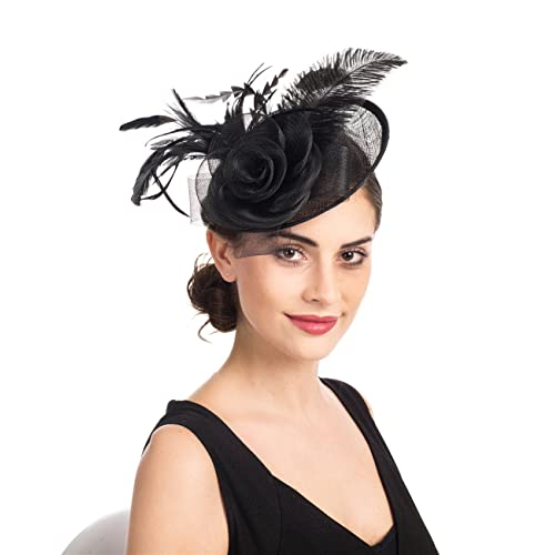 SAFERIN Fascinators Hat Sinamay Flower Mesh Feathers on a Headband and a  Clip Tea Party Headwear e5d492d6ab5