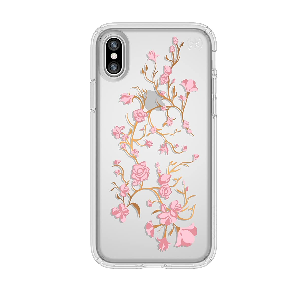 Speck Products Presidio Clear + Print Case for iPhone XS/iPhone X, Goldenblossoms Pink/Clear
