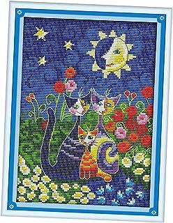 non-brand Stickpackung Kreuzstich vorgedruckt Stickset Stickbild Stickerei Stickvorlage Katzen und Blumen Motiv mit Garn - 19 x 28 cm 14 CT