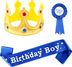 Birthday King Crown, Birthday Boy Sash and Button Pins Birthday Boy Party Accessory Set for Boys Birthday Dress-Up Birthda...