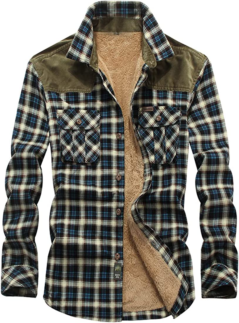 FindThy Men's Plaid Flannel Quilted Shirts Fleece Thicken Button Down Winter Jacket Coat