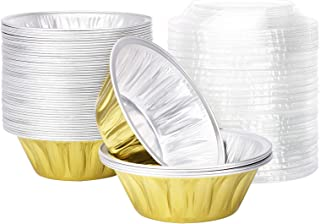 Disposable Pie Tins 6 Inch, Beasea 50 Pack Foil Tart Pans with Lids, Golden Bread Loaf Pan Aluminum Pie Pan Round Oven Bak...