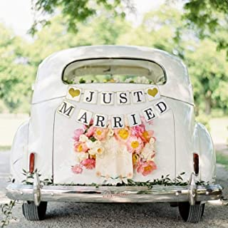 JUST Married Banner Car Decorations - Gold Glitter Just Married Sign Garland for Bridal Shower Decorations, Photo Props and Car Decorations