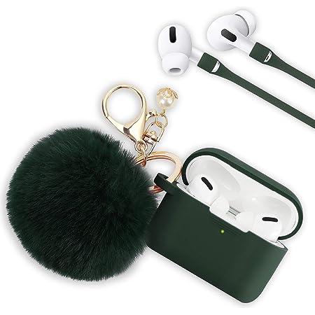 Hülle Für Airpods Pro Filoto Airpod Pro Case Cover Für Apple Airpods Pro Wireless Charging Case Cute Air Pods 3 Case Silikon Schutzhülle Zubehör Schlüsselbund Pompom Strap Midnight Green Elektronik