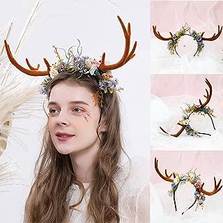 GXOK Christmas Headband for Unisex Headband Funny Antlers Headband Deer Rabbit Party Hats for Christmas