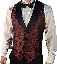 Men's Burgundy Paisley Tuxedo Vest with Black Lapel and Black Bow Tie Set